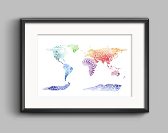 Patterned World Map - 3 Colours
