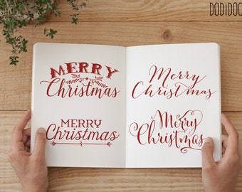 Christmas Overlays, Typography Clipart, Red Merry Christmas, 300 dpi png files, commercial use, merry christmas clipart, christmas card word