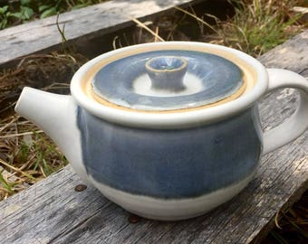 Handmade blue and white teapot, wheel-thrown pottery, 13 oz.