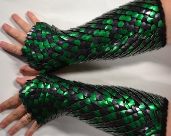 Scalemail Gauntlets in knitted Dragonhide Armor, elbow length Custom made to measure