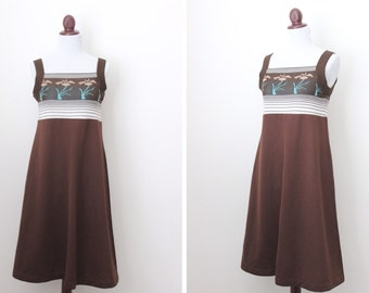 Vintage Brown Baby Doll Style Dress / Chocolate Dress