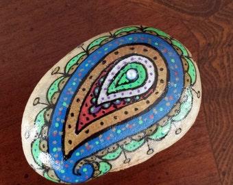 Hand painted stone, bohemian paisley, stone art, boho