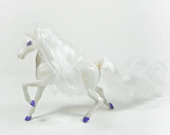 1980s Enchanted Kingdom Horse - Jasmine - Vintage Marchon Plastic Horses - Pearl Hairline - White - TLC Scuffs Frizzy Hair