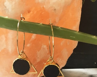 Black Quartz Geo Hoop Earrings