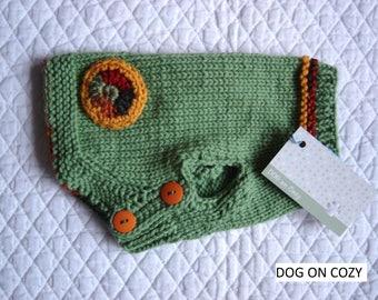 Button Dog Sweater, Handknit Pet Sweater, Size MEDIUM, Green Jumper