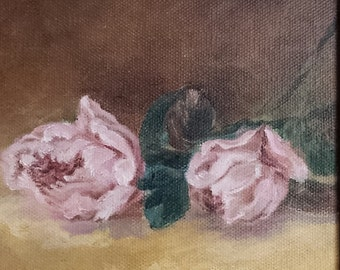 Peonies 5x8 oil painting. Still life. Flowers.  Floral.