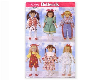 """Butterick 5295 Doll Clothes Sewing Patterns for 18"""" Dolls American Girl Wardrobe Dress Vest Shirt Cowgirl Outfit Pajamas Slippers"""