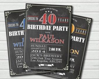40th birthday invitation. surprise birthday invite. Man, woman. Retro chalkboard Red. Printable adult birthday party invitation. AB003
