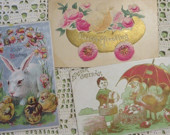 Post Cards Vintage EASTER Cards  //  Dated 1909, and 1912  //  Ships FREE  //  Bunnies Eggs & Chicks  //  2 Have Raised Embossed Pictures