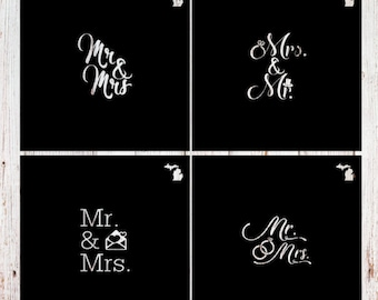 Just Married, 3 inch, Wedding, Bridal, Bride, Marry, Marriage, SILK SCREEN (mesh) or Plastic (acetate)