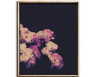 Dark Floral Art Print, Moody Flowers, Dark Floral Download, Flower Art, Print, Downloadable Prints, Moody Art, Dark Floral Wall Art, Poster