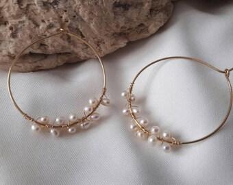Brass hoop earrings with natural genuine pearls