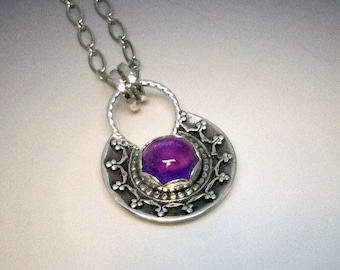 Sterling Silver Boho Natural Amethyst necklace