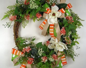 Everyday Floral Grapevine Wreath, Magnolia and Orange Blossoms Wreath, Floral Grapevine Wreath, Year Long Wreath