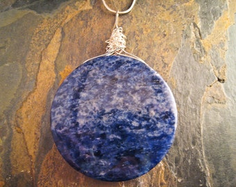 Handcrafted Sodalite and Sterling Silver Pendant (P165)