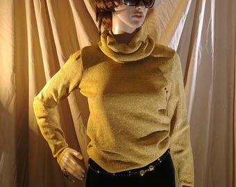 Sale 60s 70s Gold Glitter Cowl Neck Long Sleeve Top Sweater