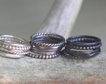 Custom Stacking Rings - Set of 5 - Pick your Finish - Delicate Ring Set - Best Stacking Rings - Dainty Ring Set - Stackable Ring Set