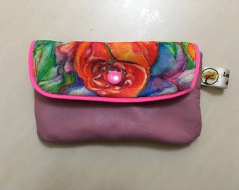 """""""Roses"""" print leather wallet"""