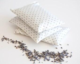 Lavender sachet white with grey dots - Polka dot sachet - Herb sachet cotton - Aroma sachet  - Favor - Lavender bag - Gift sachet - Pure