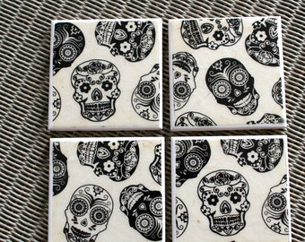 Day of the dead ceramic drinks coasters, Mexican Black Sugar Skulls Home Decor