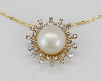 """14K Yellow Gold Pearl and Diamond Sun Necklace Wedding Pendant Gift Chain 17"""""""