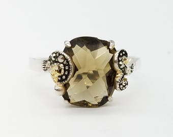 Vintage Checkerboard Cut 12 x 8 mm Smoky Quartz, Marcasite & Sterling Silver Statement Ring - Size 8.75