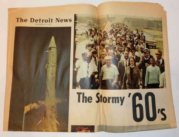 Vintage Detroit News Newspaper Edition – The Stormy 60's - The Detroit News 1969 Special Section – Collect or Use