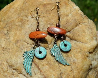 Angel Wings and Bayong Wood Beads Boho Earrings