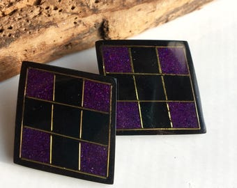 Vintage Checkered Purple and Black Earrings, Harlequin Shaped, Diamond Shaped, 80's Earrings, Big Earrings, New Old Stock