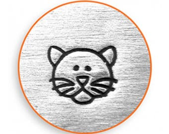 Impressart cat stamp, cat design stamp, Decorative stamp, cat face metal stamp, 6mm cat stamp, Impressart stamp, animal stamps, cat face