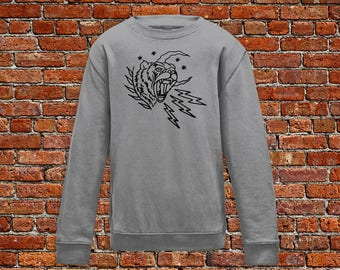 Tiger sweater, lightening sweater, tiger tattoo, tattoo sweater, classic tattoo art, old school sweater, hipster gift gift for tattoo lovers