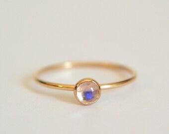 Gold Moonstone Ring, Moonstone Ring Gold, Gold Filled Moonstone Ring, Rainbow Moonstone Ring, Stackable Ring, Stacking Ring, Dainty Ring
