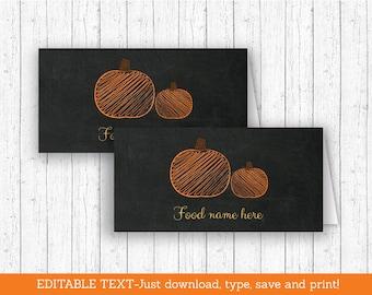 Chalkboard Pumpkin Buffet Cards / Pumpkin Tent Cards / Pumpkin Place Cards / Pumpkin Baby Shower / INSTANT DOWNLOAD Editable PDF A197