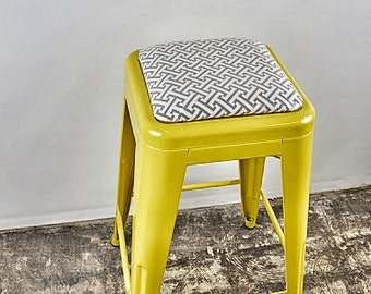"""Custom Painted & Upholstered Tolix Style Stool in the Color and Fabric of your Choice 24"""" Counter Height"""