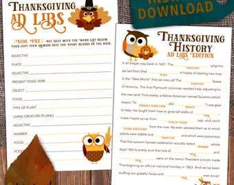 Printable Thanksgiving Game - Mad Lib Party Favor / School Activity [Instant Download]