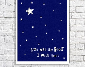 Star Nursery Decor Star Quote Navy Blue Nursery Art Baby Boy Wall Decor Baby Girl Room Gender Neutral Nursery Celestial Print Constellations