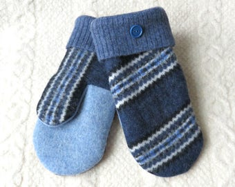 Repurposed Sweater Wool Mittens in Royal Blue and Navy, Adult Size, Lined Felted Wool Mittens