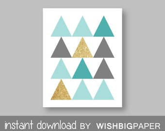 Deer Antler Triangle Printable Wall Art Print-Instant Download.Aqua Turquoise Teal Gold Glitter Triangle Deer Antler Printable Art