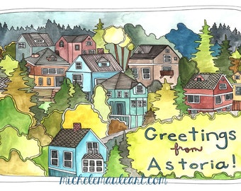 Astoria Oregon Postcards - Astoria Oregon - Astoria Oregon Illustration - Astoria Postcards - Set of Three Astoria Oregon Postcards