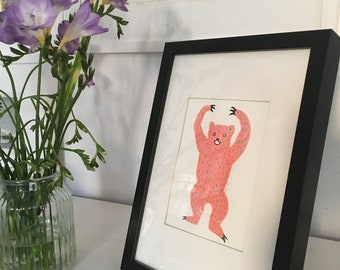 Pink Bear Gouache Artwork, part of Scary beasts series // handmade artwork wall art cute kids and adults art, What are you scared of