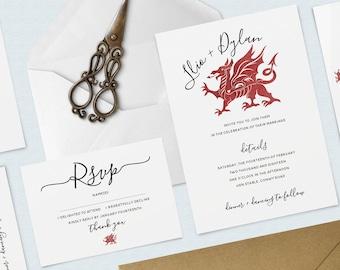 Welsh Dragon Watercolour Wedding Invitation Bundle, Invitation and RSVP Pack, Minimal, Calligraphy Invitation