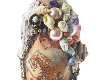 Altered Bottle with Vintage Lady Portrait, Shells, Rhinestones, Vintage Lace, Bottle Art, Handmade in the USA