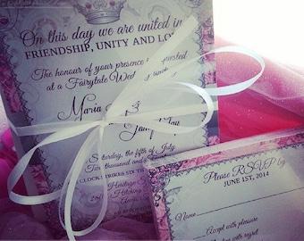 Fairytale Princess Wedding Invitation and RSVP - Digital or Printed - fairytale themed wedding