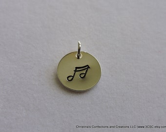 Hand Stamped Music Note charm or Necklace (#1614)