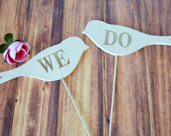 Wedding Cake Toppers - We Do Birds - in Gold