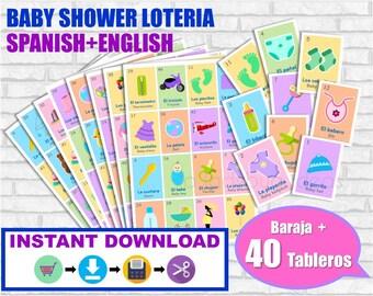 Lotería Baby Shower Ingles y Español. Juego para baby shower. PDF para imprimir. Baby shower bingo. English and Spanish. Instant download