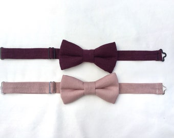 Boys Burgundy Wine Linen Bow Tie, Boys Dusty Rose Blush Linen Bow Tie, Toddler Bow Tie, Boys Burgundy Dusty Rose Bow Tie, Ring Bearer Outfit