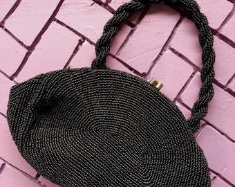 Vintage Beaded Black Handbag Walborg Top Handle Bag