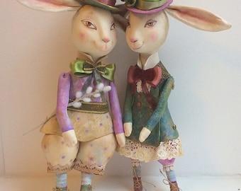"Art Doll Duo - ""Wedding bunnies"" OOAK unique bunny wedding gift, wedding decoration"