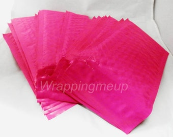 25 Pack  Hot Pink 4x8 Bubble Mailers, Padded envelopes,Fluorescent Pink Mailing Neon Pink Shipping Envelopes